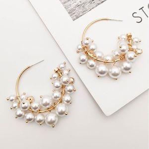 Pearl and Crystal Hoop Gold Earrings